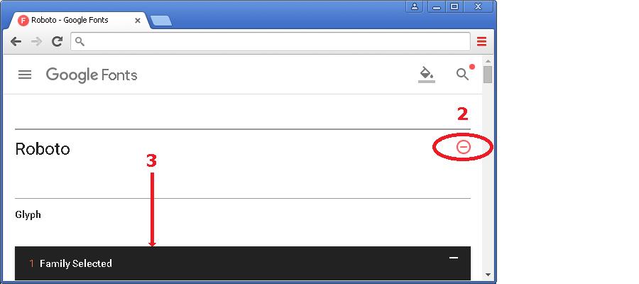 Рис.35б Добавление шрифта в коллекцию (служба Google Fonts).